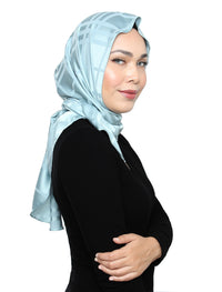 Plaid Silky Satin Tri Scarf - Jade Mint