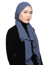 Chevron Pleated Tri Scarf - Smoke Blue