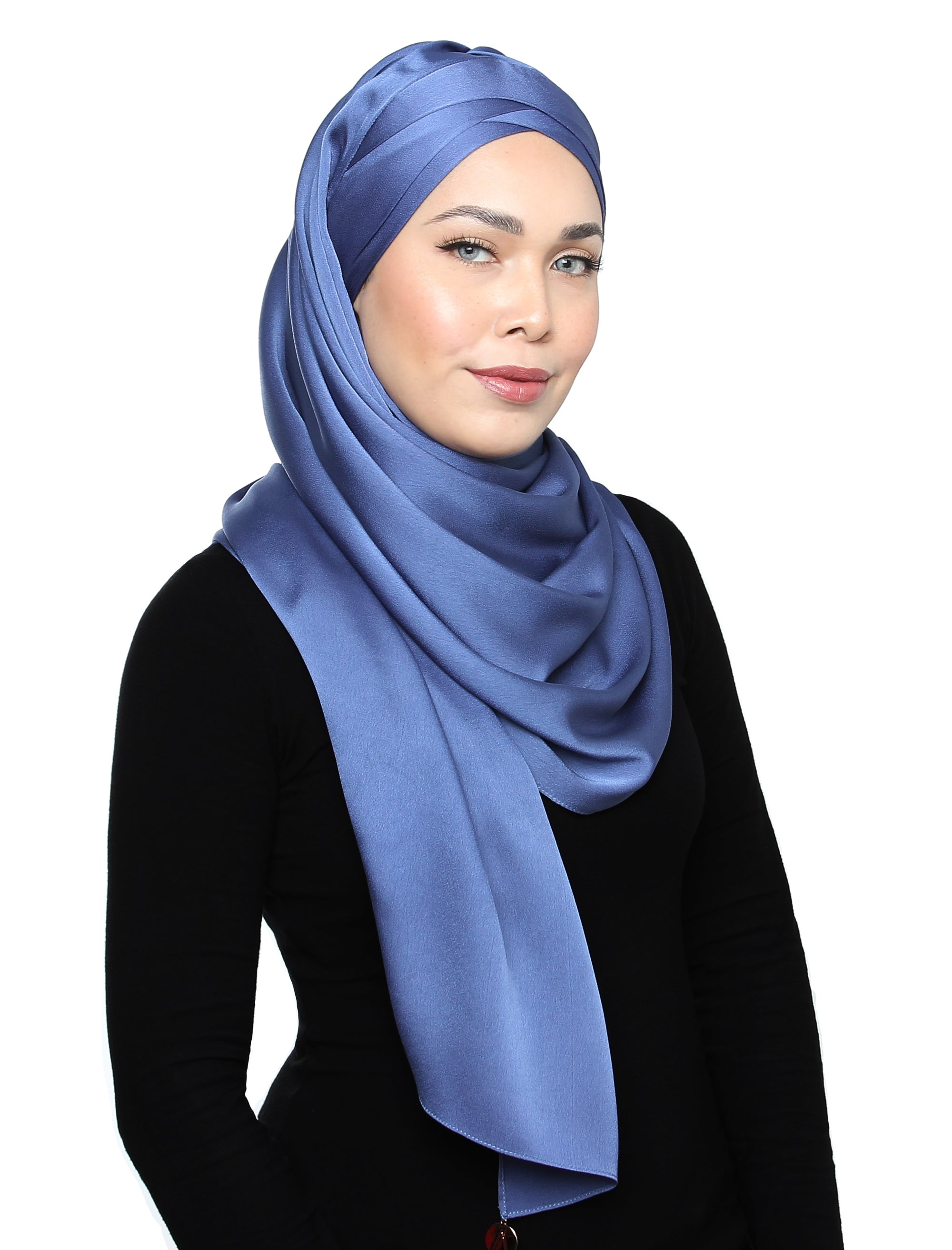 Lux Turban Satin Crepe Shawl - Blue Cornflower