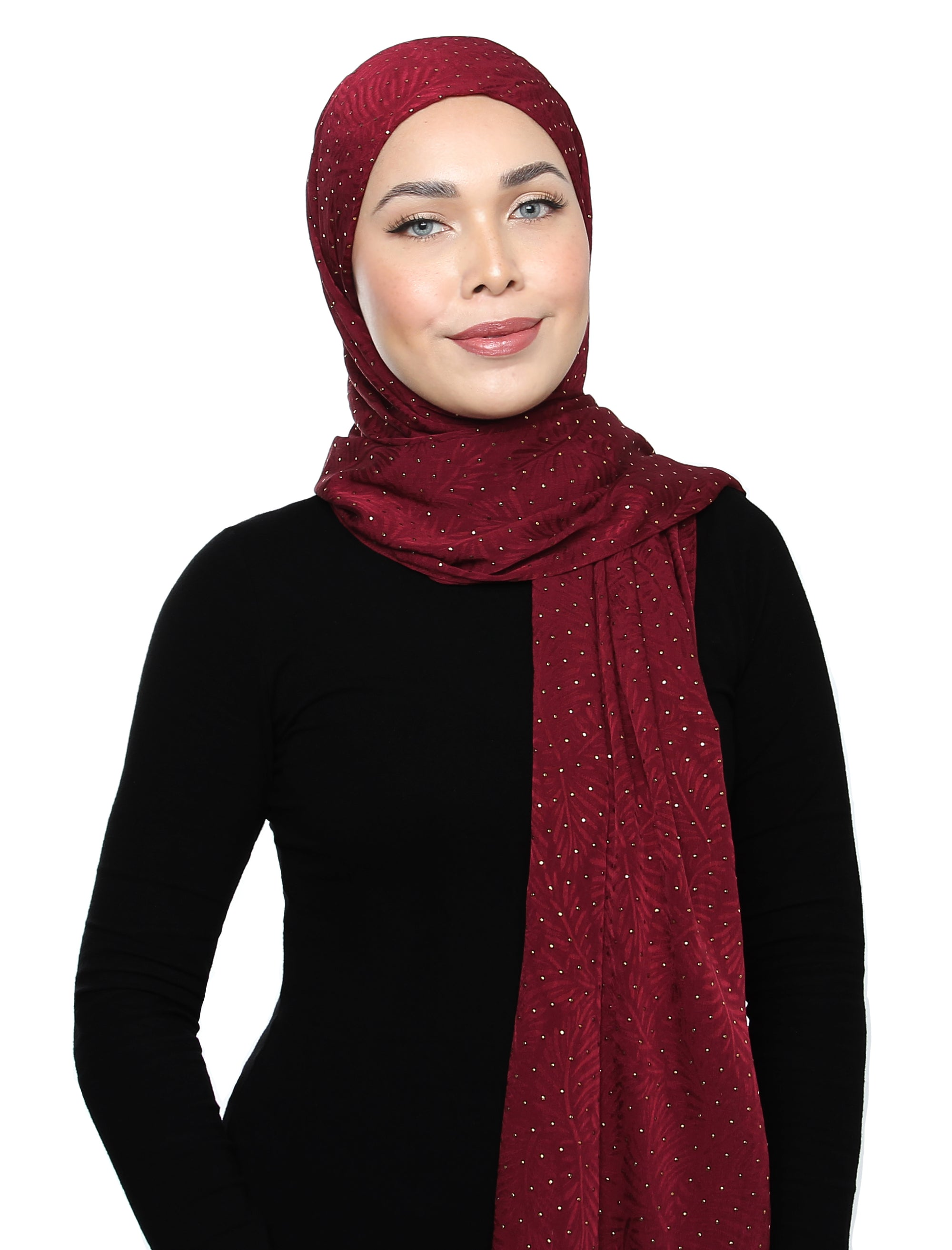 Lux Square Textured Gold Foil Satin Shawl - Burgundy