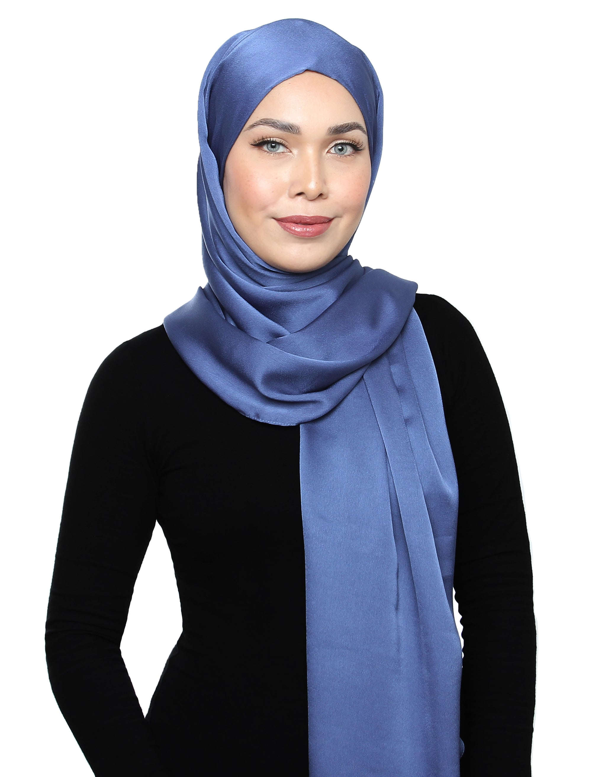 Lux Square Satin Crepe Shawl - Blue Cornflower