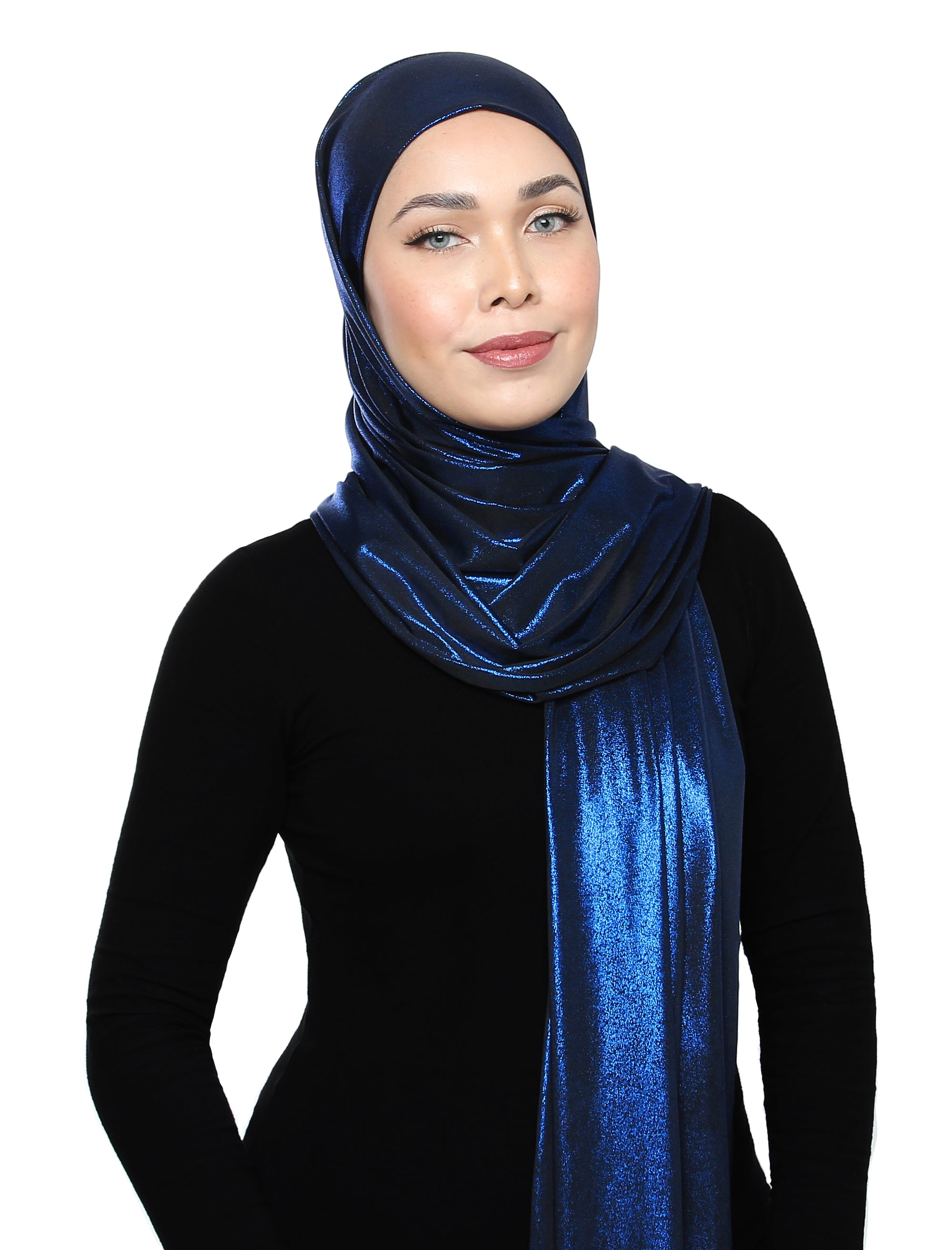 Lux Square Metallic Jersey Shawl - Blue