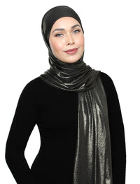 Lux Square Metallic Jersey Shawl - Dull Gold