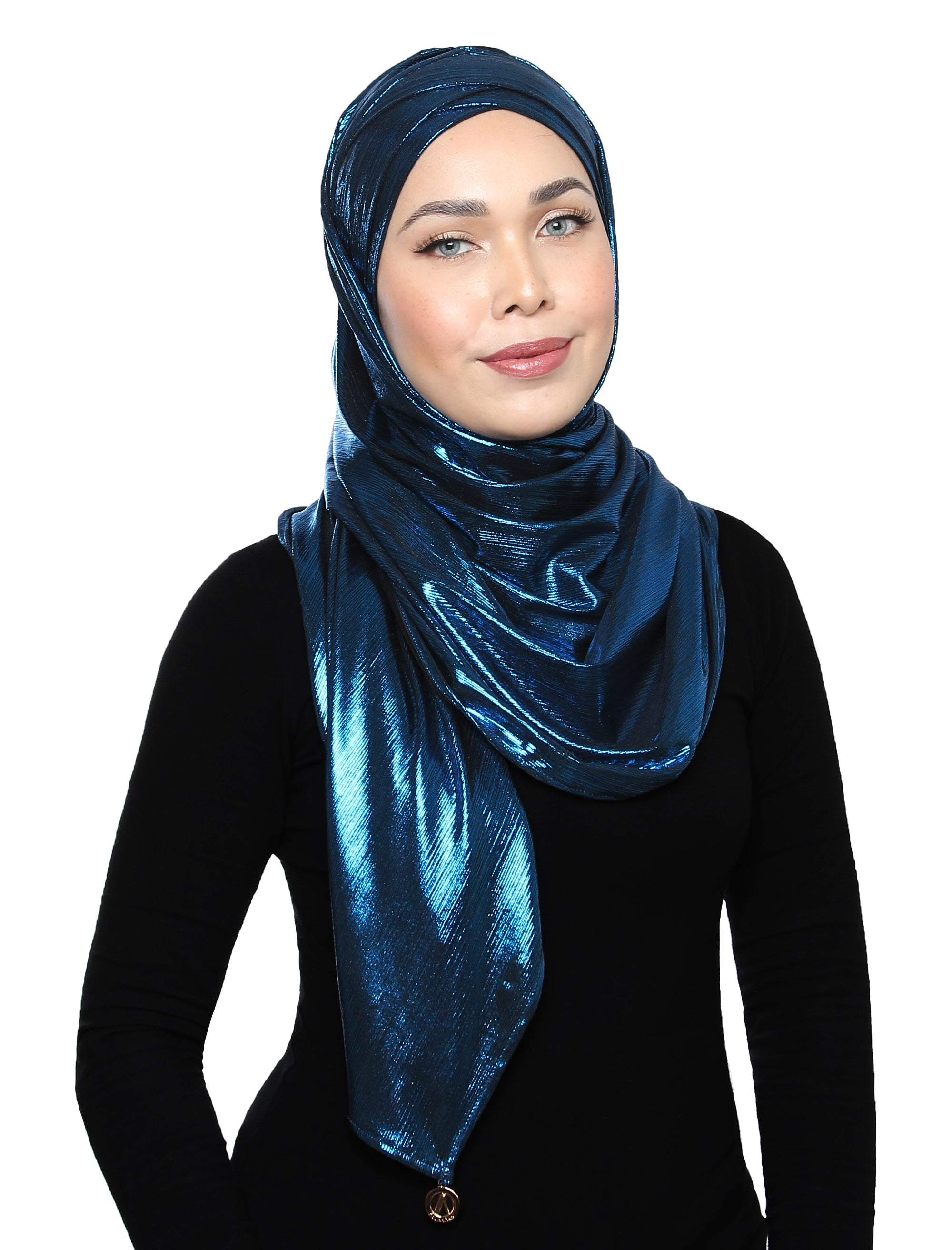 Lux Turban Pleated Metallic Shawl - Peacock Blue