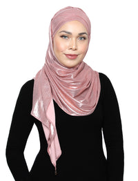 Lux Turban Pleated Metallic Shawl - Ballet Pink