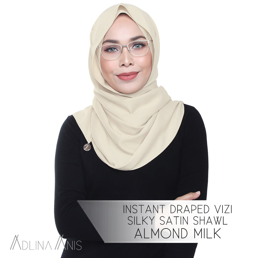 Instant Draped Vizi Silky Satin Shawl - Almond Milk