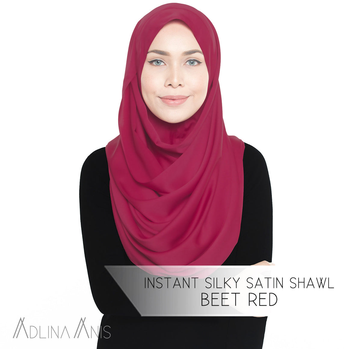 Instant Silky Satin Shawl - Beet Red