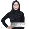Instant Draped Vizi Silky Satin Shawl - Black
