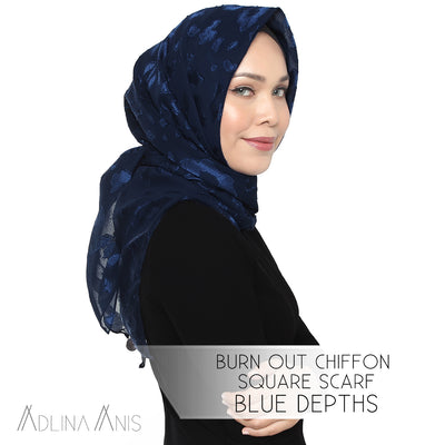 Burn Out Chiffon Square Scarf - Blue Depths