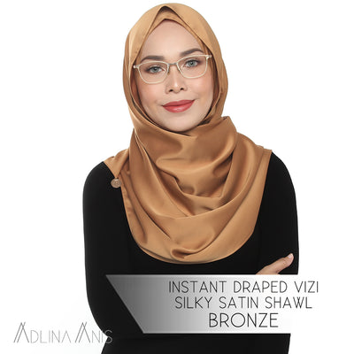 Instant Draped Vizi Silky Satin Shawl - Bronze