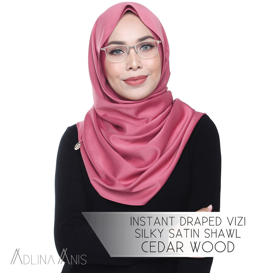 Instant Draped Vizi Silky Satin Shawl - Cedar Wood