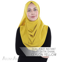 Dual Face Instant Silky Satin Shawl - Ceylon Yellow