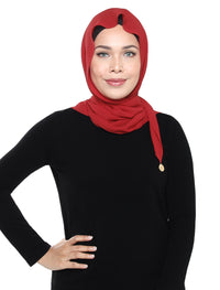 Crushed Chiffon Tri Scarf - Red