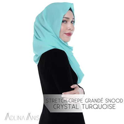 Stretch Crepe Grande Snood - Crystal Turquoise