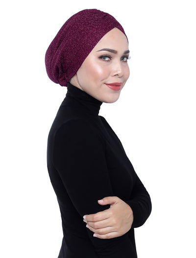 Gold Knit Jersey Turban - Dark Purple
