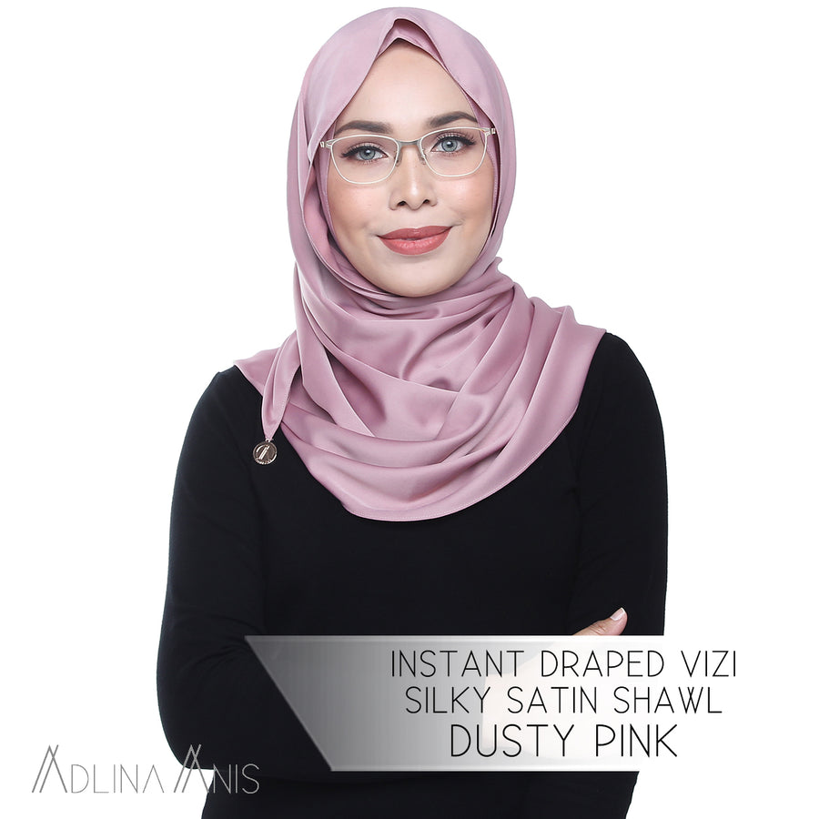 Instant Draped Vizi Silky Satin Shawl - Dusty Pink