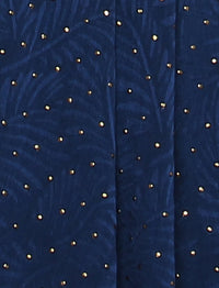 Lux Square Textured Gold Foil Satin Shawl - Prussian Blue