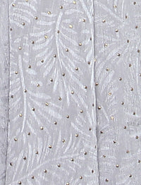 Lux Square Textured Gold Foil Satin Shawl - Silver