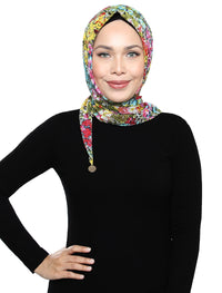 Full Blooms Chiffon Tri Scarf - Multicolour