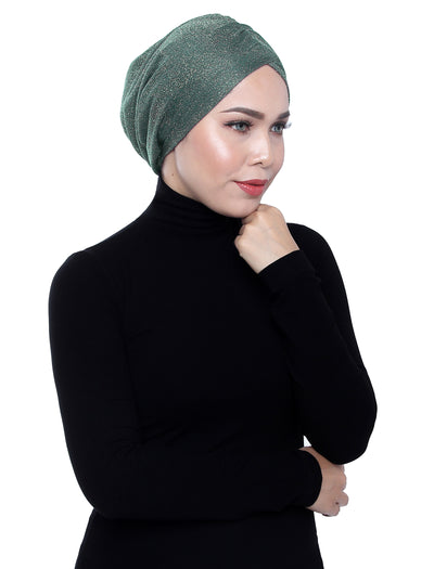 Glitter Gold Knit Turban - Hedge Green