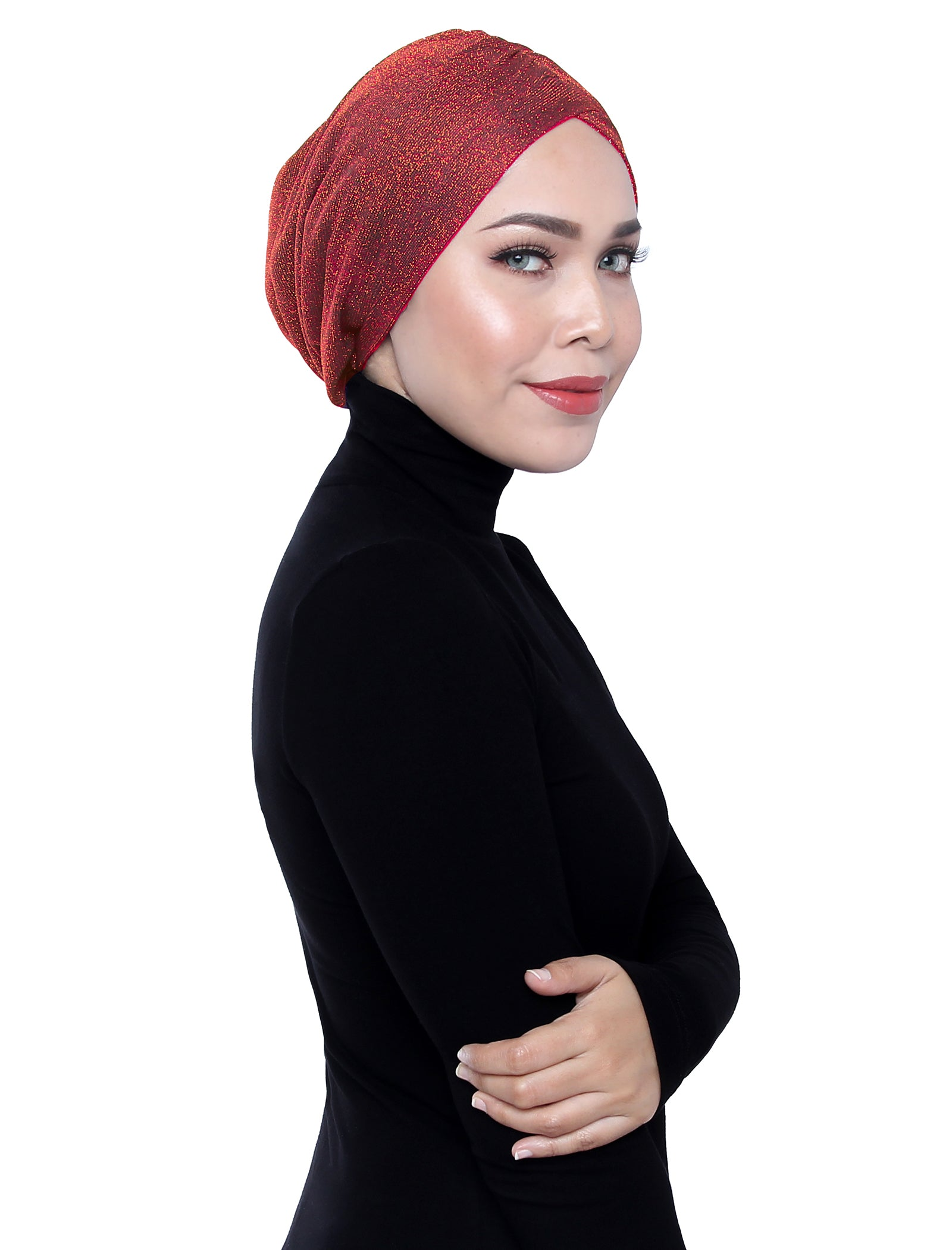 Glitter Gold Knit Turban - Spicy Orange