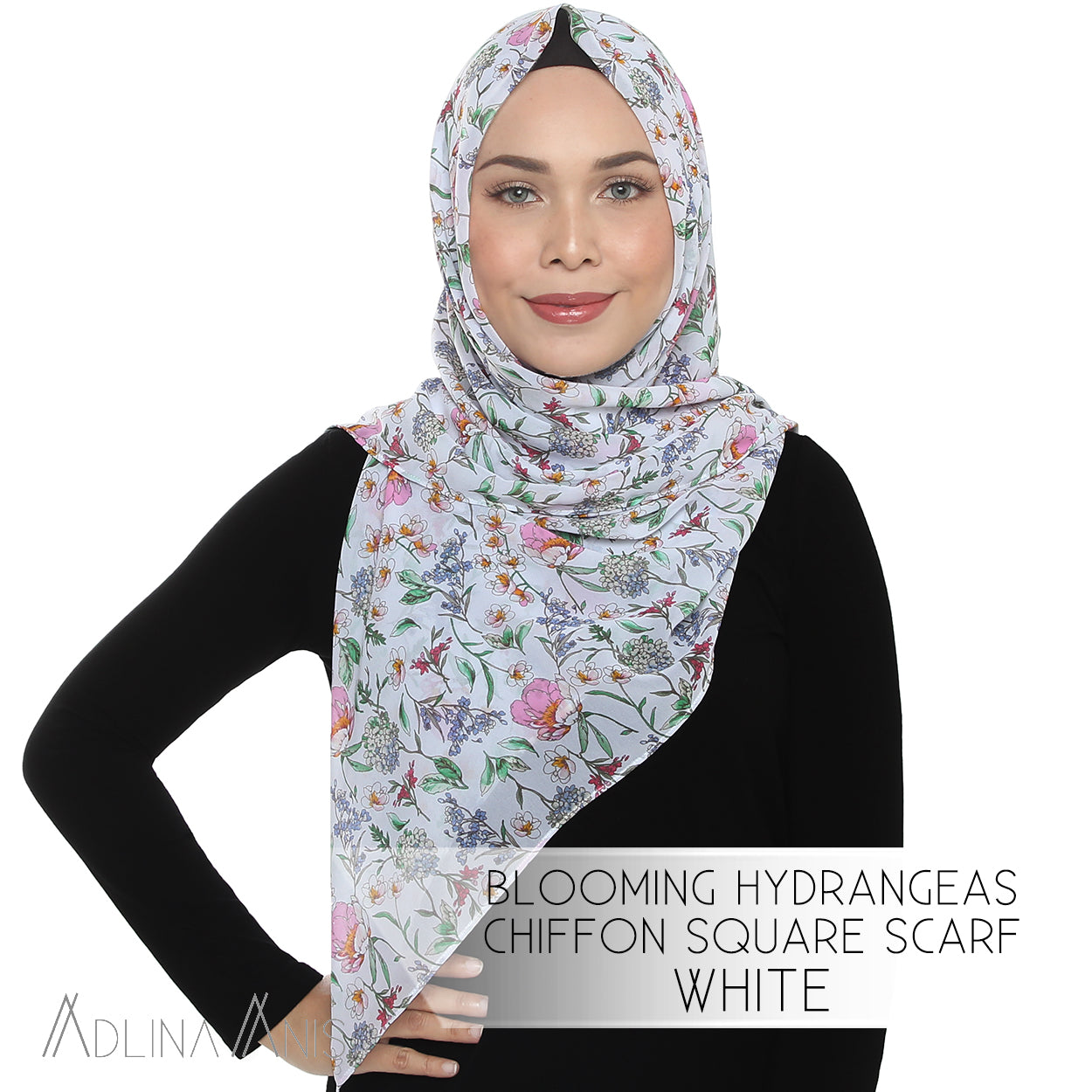 Blooming Hydrangeas Chiffon Square Scarf - White
