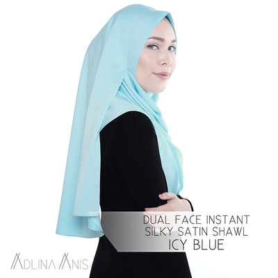 Dual Face Instant Silky Satin Shawl - Icy Blue