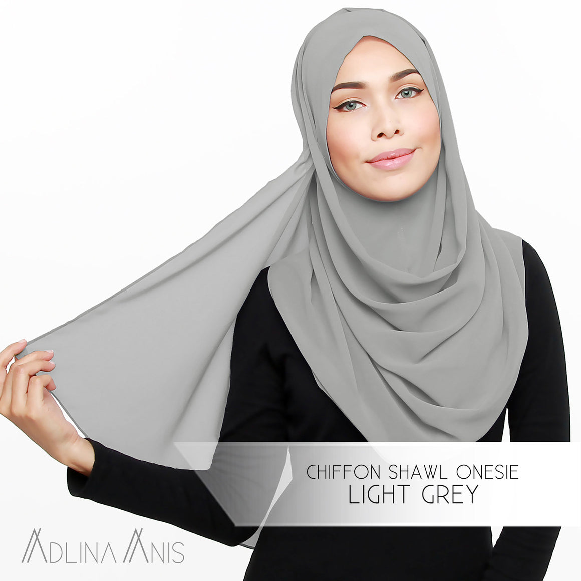 Adlina Anis - Chiffon Shawl Onesie - Light Grey