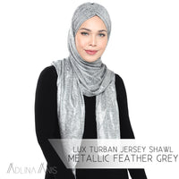 Lux Turban Jersey Shawl - Metallic Feather Grey