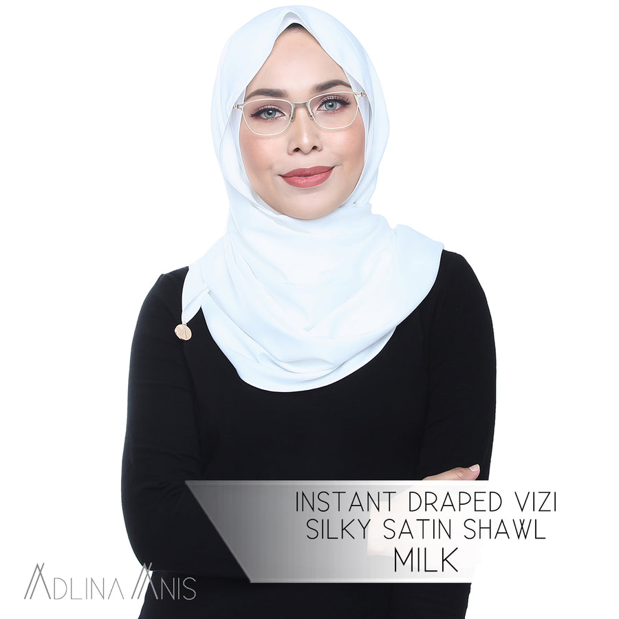 Instant Draped Vizi Silky Satin Shawl - Milk