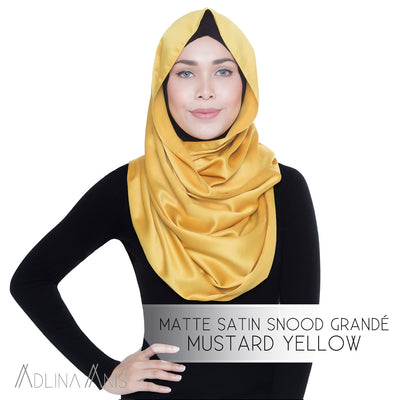 Adlina Anis - Matte Satin Snood Grande - Mustard Yellow