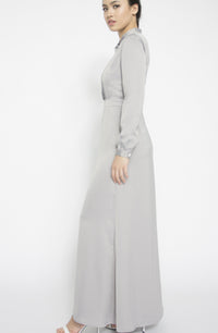 Pleat Tuck Bib Satin Gown