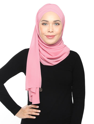 Lux Turban Chiffon Shawl - Powder Pink