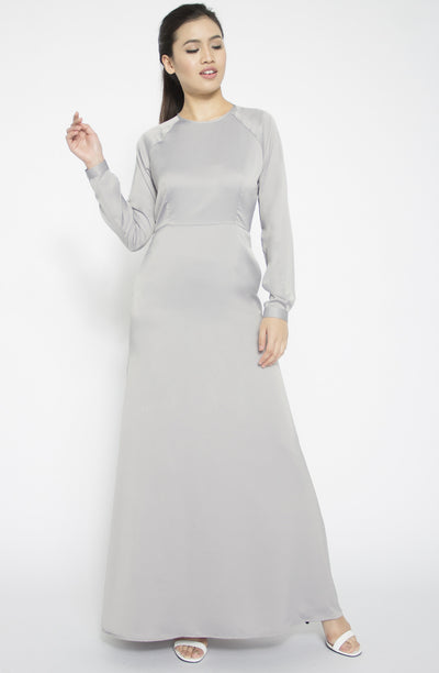 Raglan Sleeves Satin Gown