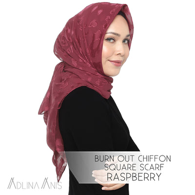 Burn Out Chiffon Square Scarf - Raspberry