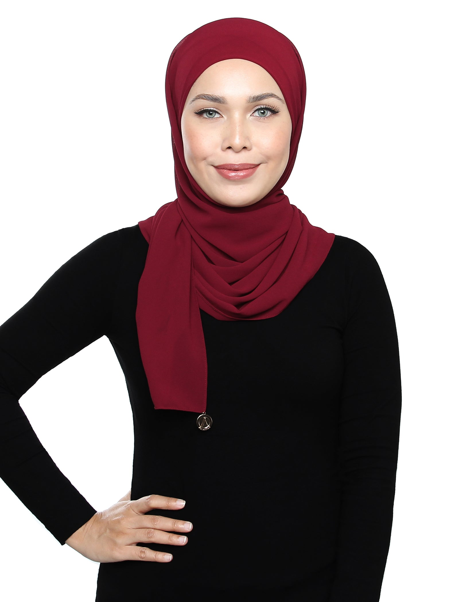 Lux Square Chiffon Shawl - Red Plum