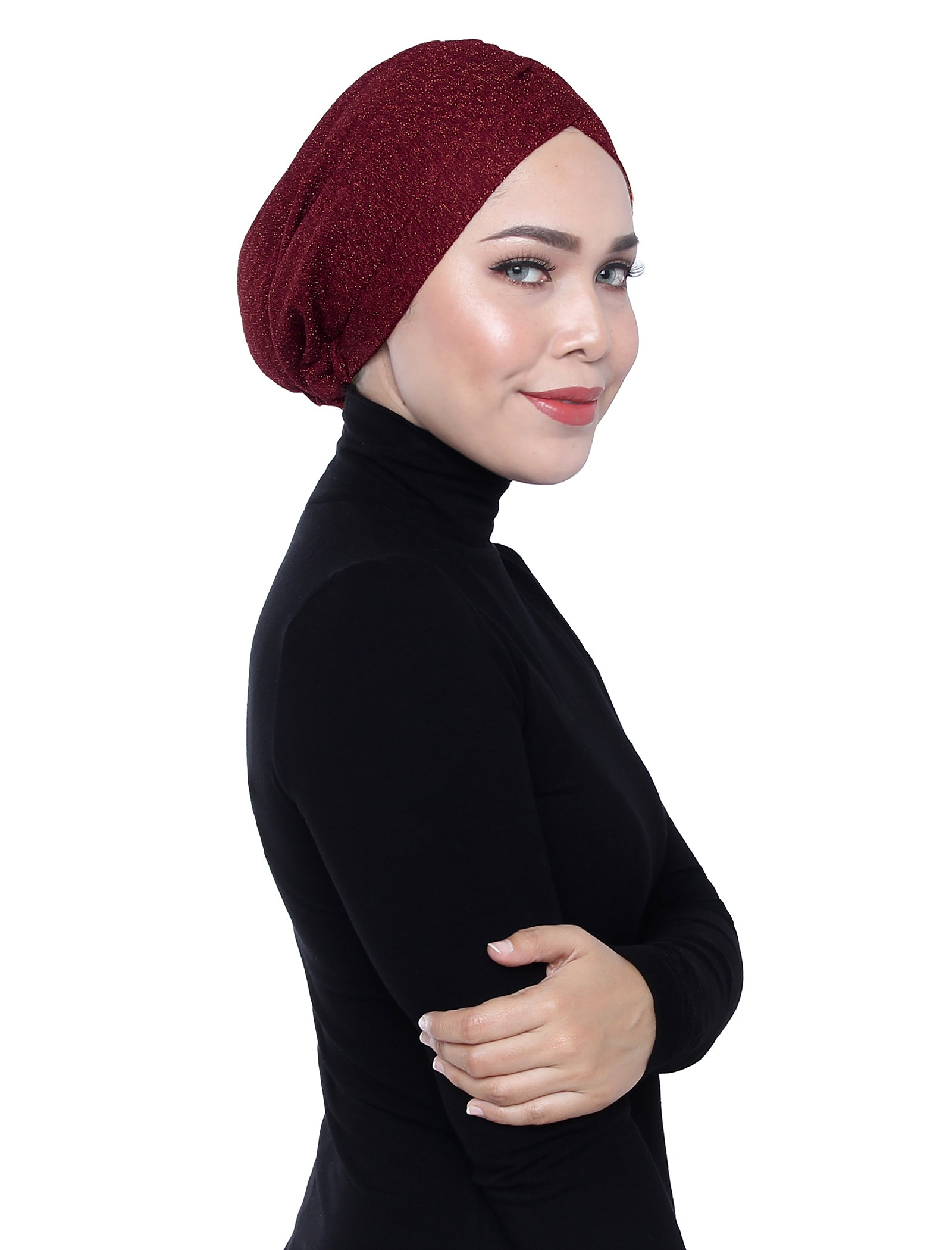 Gold Knit Jersey Turban - Rhubarb Red