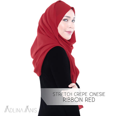 Stretch Crepe Onesie - Ribbon Red
