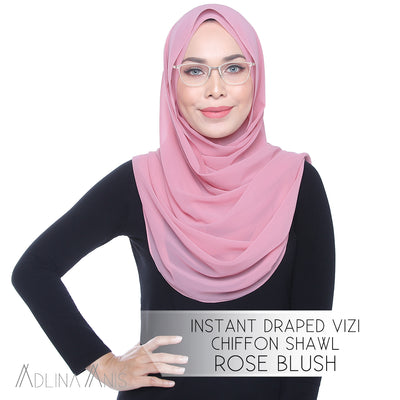 Instant Draped Vizi Chiffon Shawl - Rose Blush