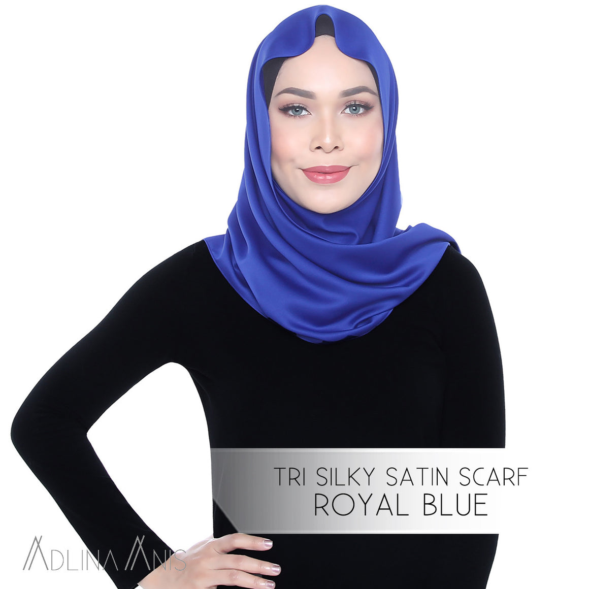 Tri Silky Satin Scarf - Royal Blue