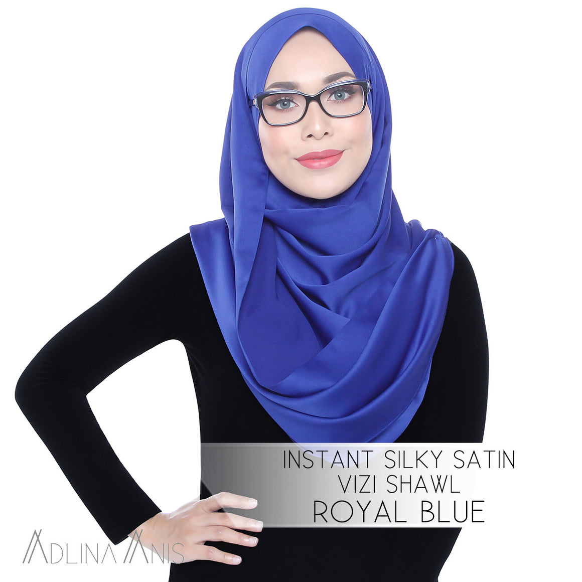Instant Silky Satin Vizi Shawl - Royal Blue