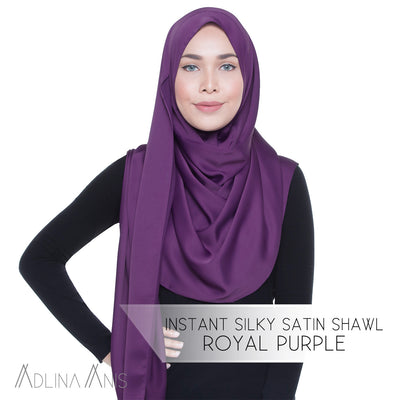 Instant Silky Satin Shawl - Royal Purple