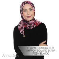 Floral Shadow Box Chiffon Square Scarf - Red/Black