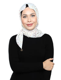 Spotted Sateen Tri Scarf - Cream