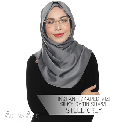 Instant Draped Vizi Silky Satin Shawl - Steel Grey