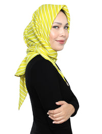Striped Sateen Tri Scarf - Lime Sorbet