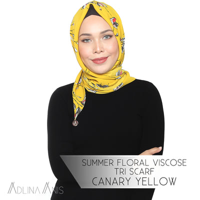 Summer Floral Viscose Tri Scarf - Canary Yellow