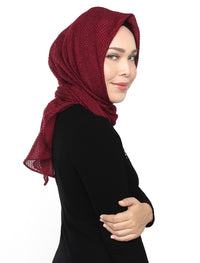 Textured Chiffon Tri Scarf - Beet Red