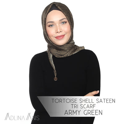 Tortoise Shell Sateen Tri Scarf - Army Green