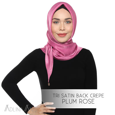 Tri Satin Back Crepe Scarf - Plum Rose